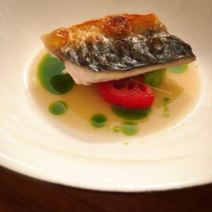 Grilled Mackerel with Tomato Dashi and mint oil